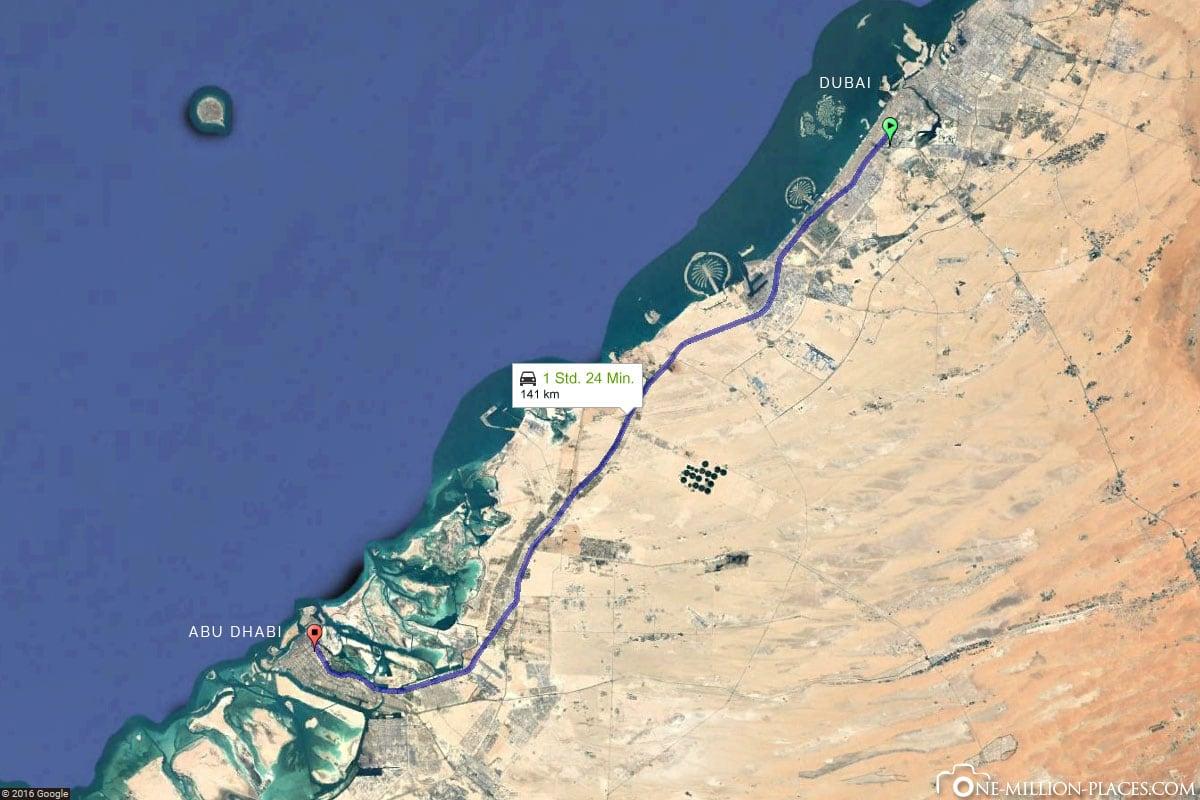 Route Dubai to Abu Dhabi, car rental, travel report