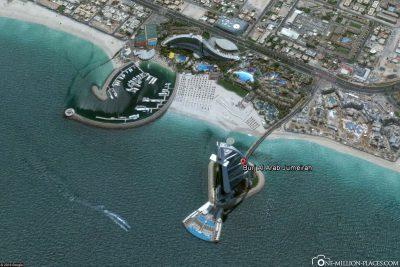 The location of Burj Al Arab in Google Maps