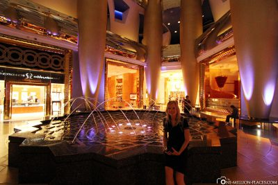 The lobby in the evening