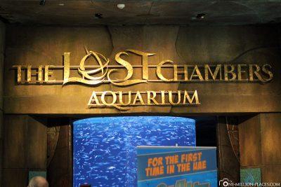 Der Eingang zum Aquarium The Lost Chambers