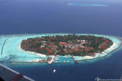 Flug über die Malediven
