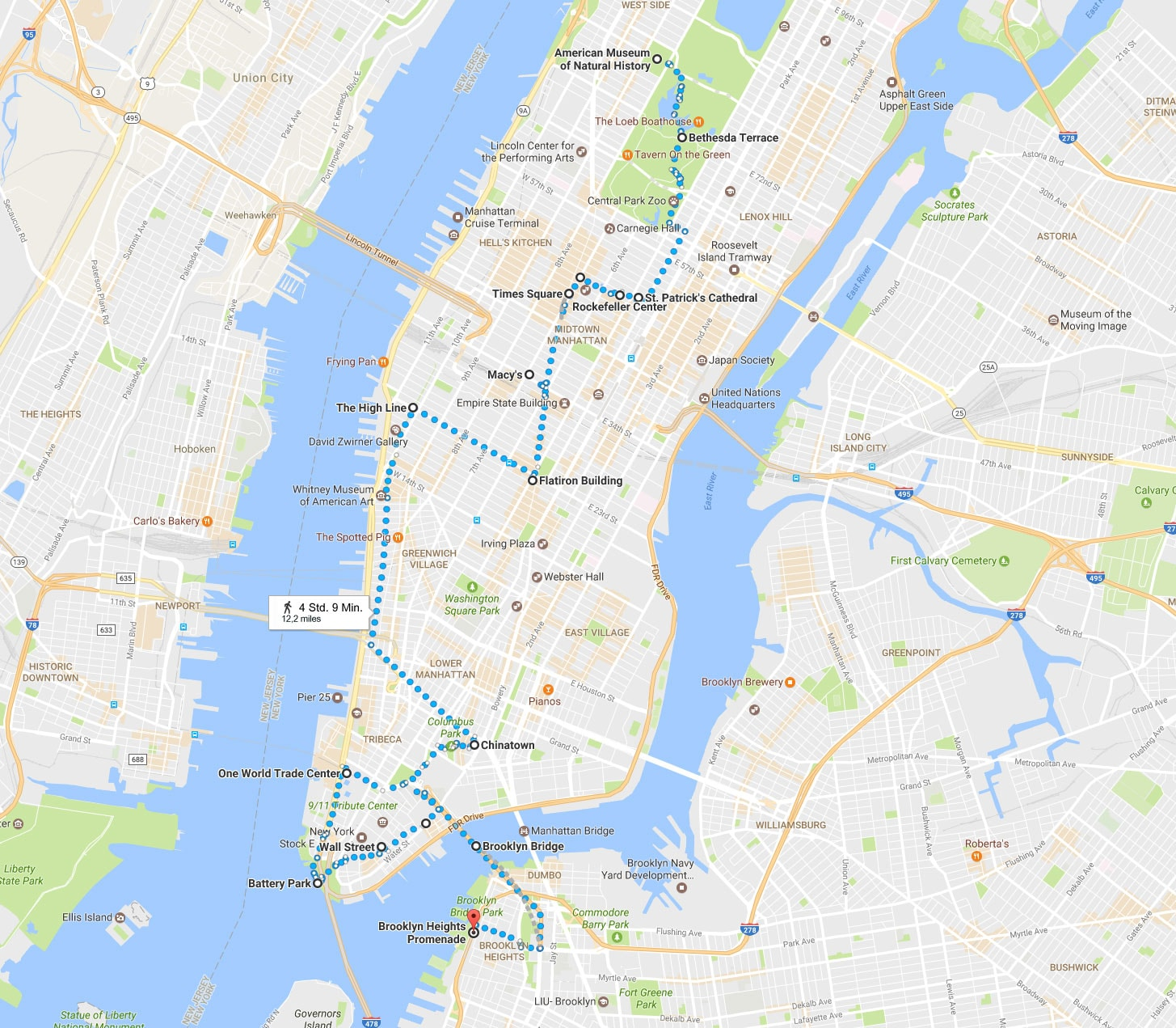 New York, Walking Tour, On Your Own, Route, One Day, Travelreport