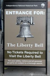 Information board for the Liberty Bell