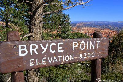 Der Aussichtspunkt Bryce Point