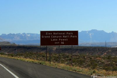 Exit 16 to Zion National Park