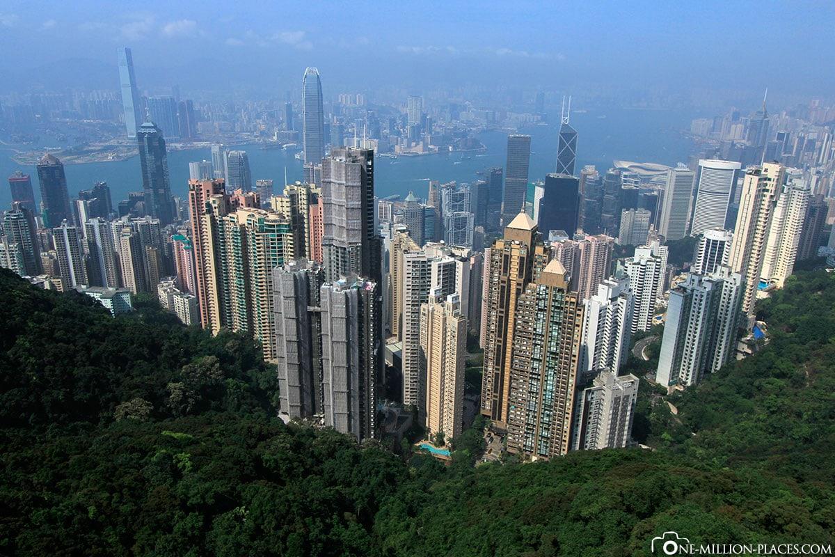 Aussicht, Victoria Peak, Hong Kong, China, Sehenswürdigkeiten, Auf eigene Faust, Reisebericht