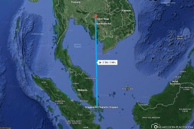 The flight route from Singapore to Siem Reap