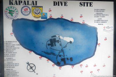 Tauchkarte von Kapalai Dive Resort