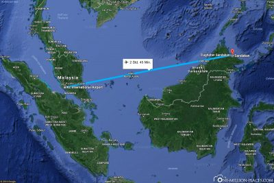 The flight route from Kuala Lumpur to Sandakan