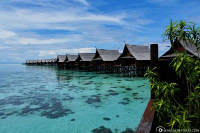 The resort's water bungalows