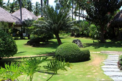 The gardens in the resort