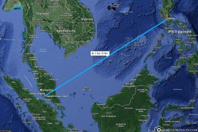 Die Flugstrecke von Kuala Lumpur nach Manila