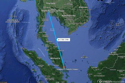 Die Flugstrecke von Bangkok nach Singapur
