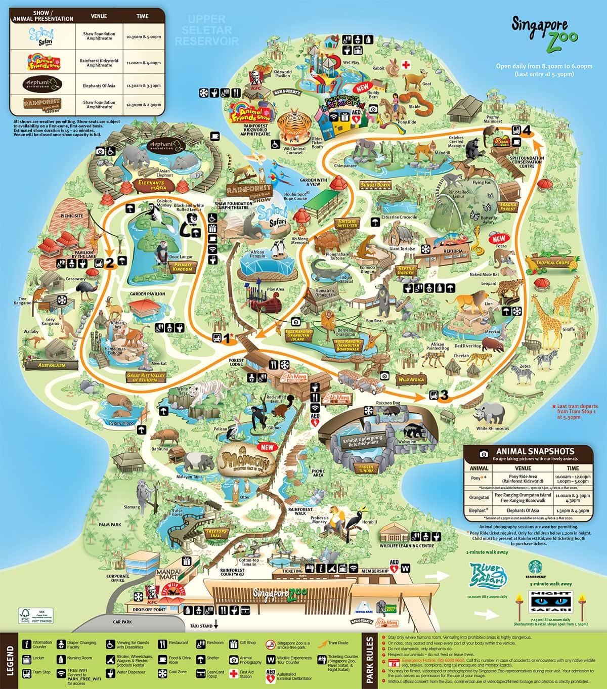 Map, Singapore Zoo, Day Trip, World Zoos, Travelreport