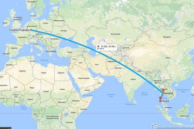 Unser Flug von Frankfurt über Bangkok nach Phuket