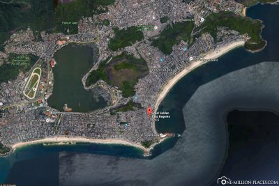 The location of our hotel on the Copacabana