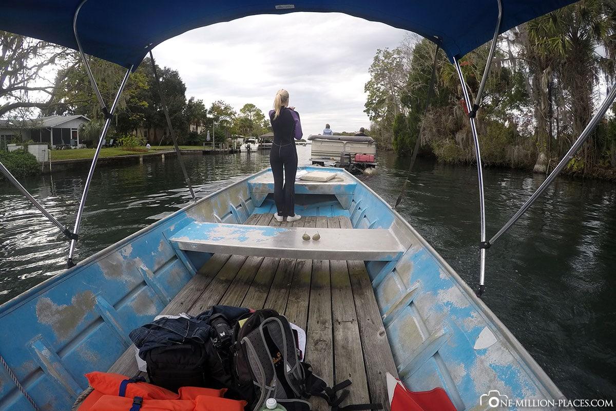 Crystal River, Florida, Reisebericht, USA, Boot