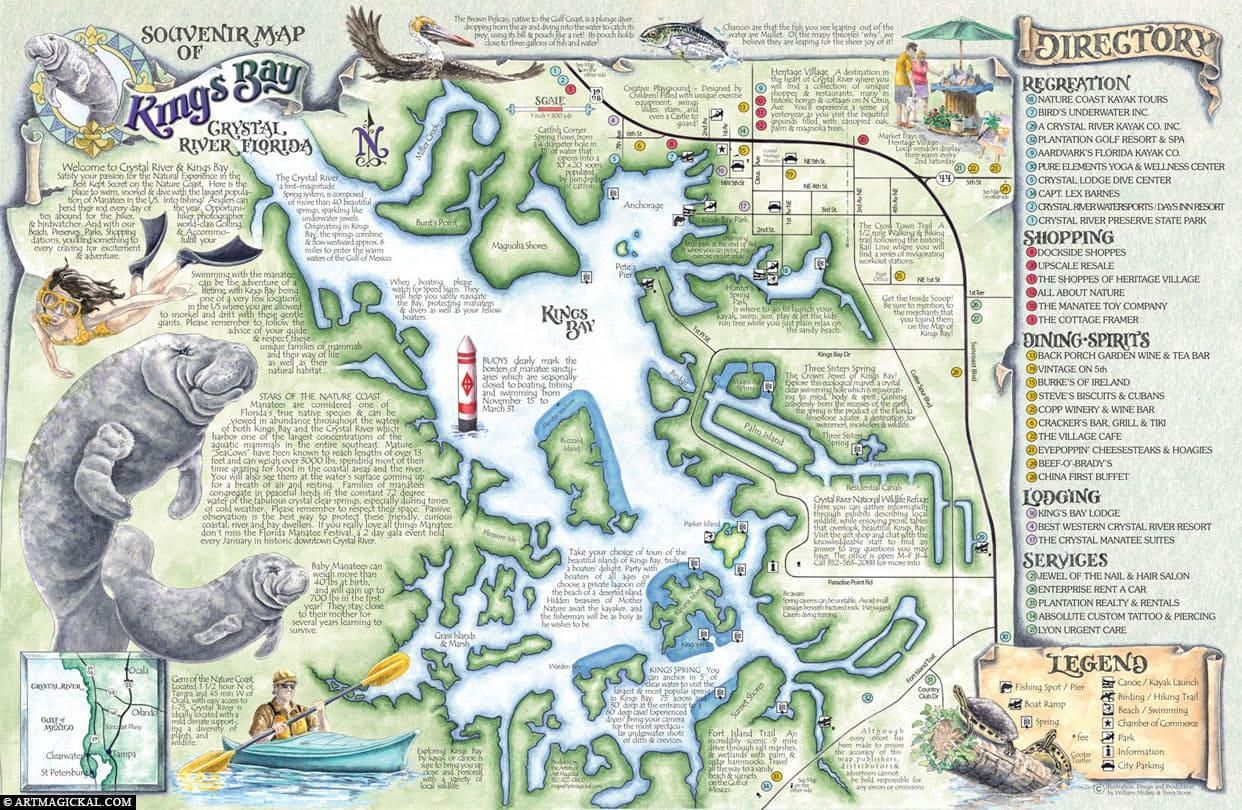 Crystal River, Karte, Kings Bay, USA, Florida
