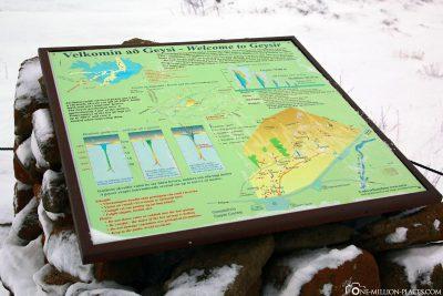 The information board at geyser Strokkur