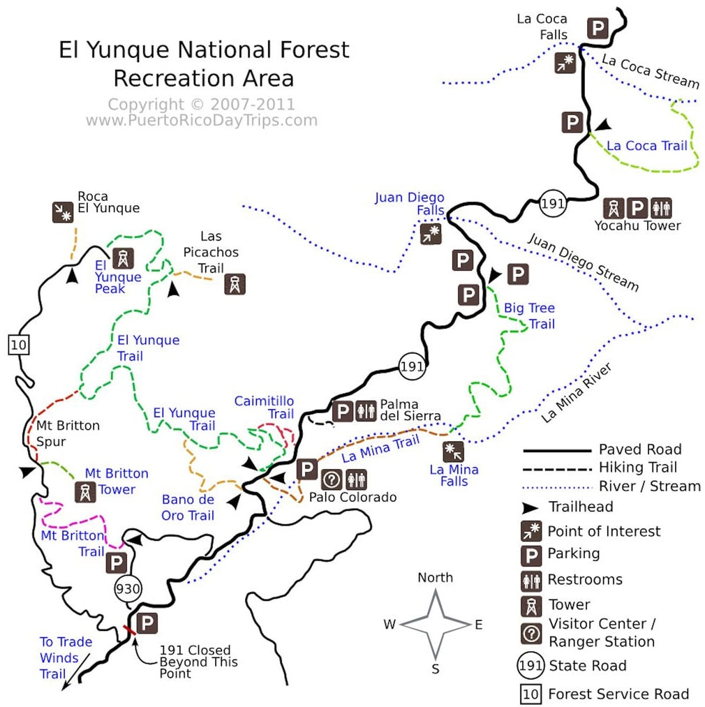 Map, El Yunque Rainforest, Puerto Rico, National Park, Attractions, Day Tour, Travel Report