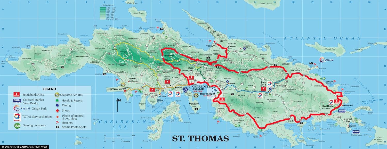 Karte, Rundweg, Saint Thomas, Inselrundfahrt, U.S. Vigin Islands, Karibik, Carnival Kreuzfahrt, Reisebericht