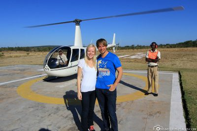 A helicopter flight over the Victoria Falls