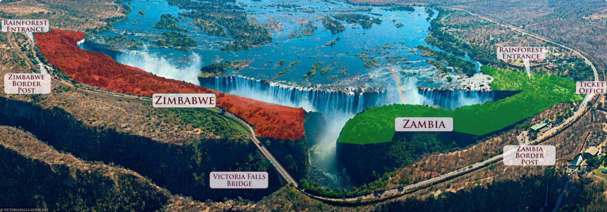 Victoria Falls, Map, Zambia Page, Zimbabwe Page, National Park, Map, Travelreport, Africa