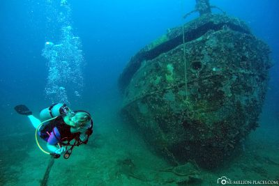 Diving at the shipwreck The Taw