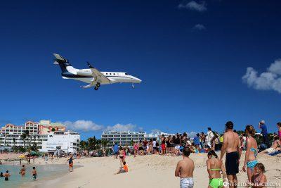 A plane over the beach