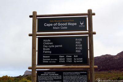 Der Eintritt in den Nationalpark