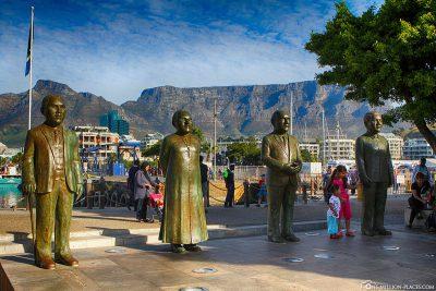 The bronze figures in Nobel Square