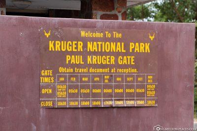 Opening hours Kruger National Park