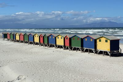 The colourful beach houses in Muizenberg