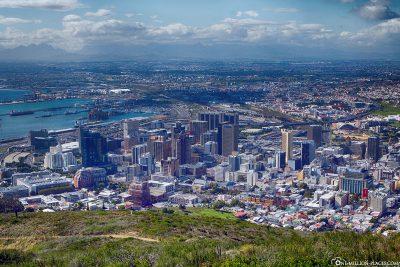 Blick auf Downtown Kapstadt