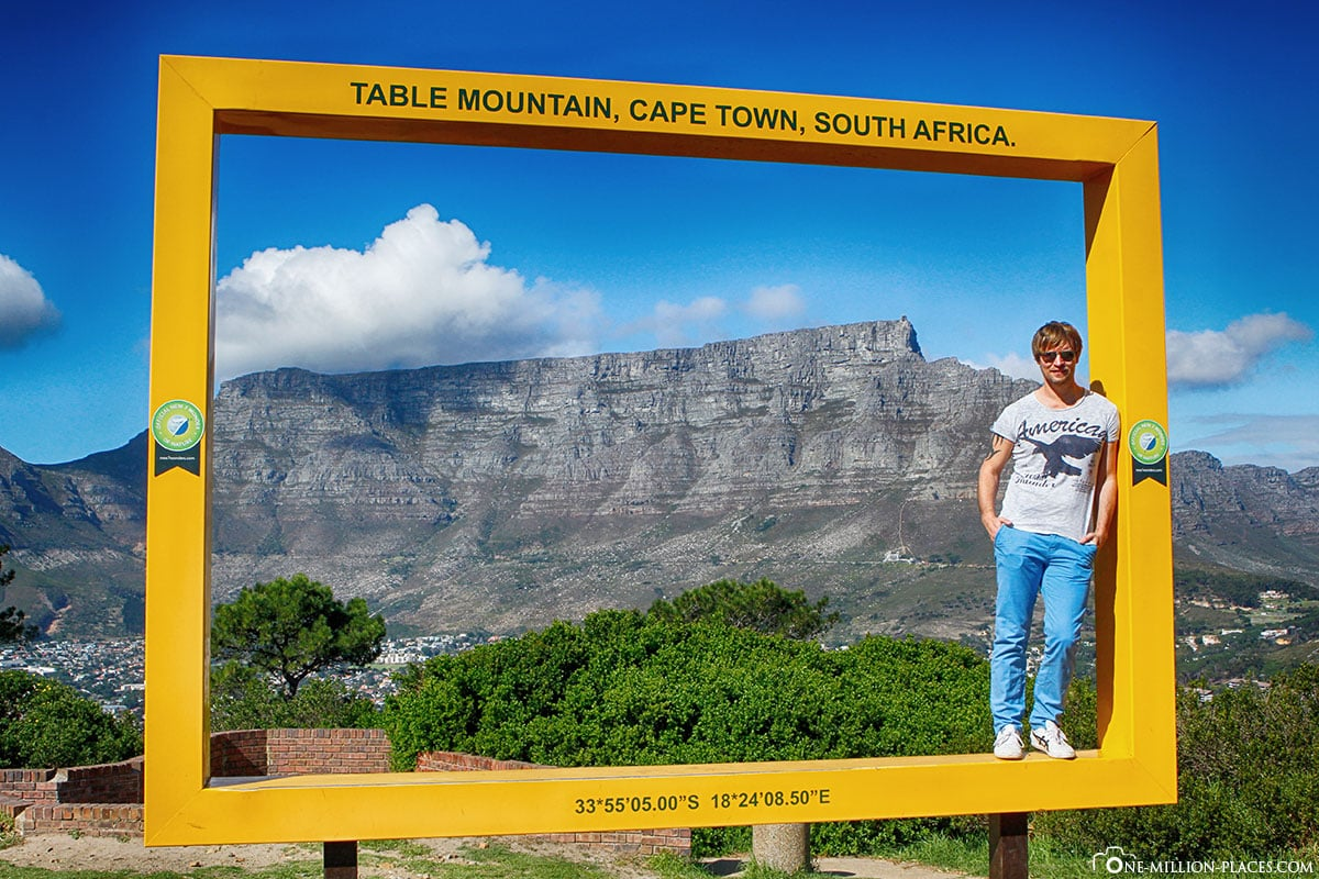 Gelber Fotorahmen, Signal Hill, Kapstadt, Tafelberg, Südafrika, Reisebericht