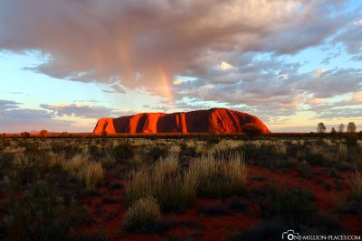 The Uluru with Rainbow