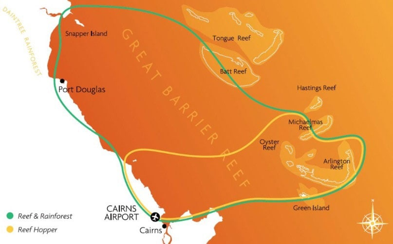 Route, Karte, Cairns, Rundflug Great Barrier Reef, Australien, Bundesstaat Queensland, GSL Aviation, Reisebericht