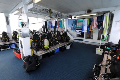 The space for the diving equipment
