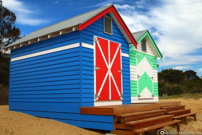 The colourful bathhouse at Dendy Street Beach