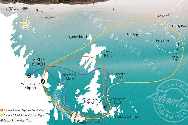 Route, Karte, Rundflug Great Barrier Reef, Airlie Beach, Australien, GSL Aviation,Bundesstaat Queensland, Reisebericht