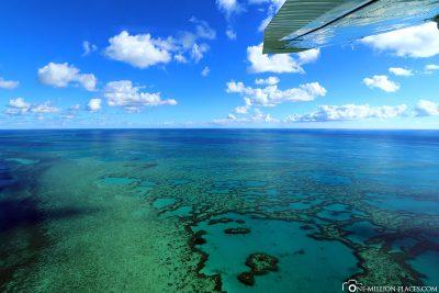 Flug über das Great Barrier Reef