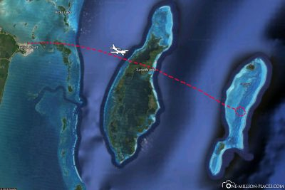 The flight route to the Great Blue Hole