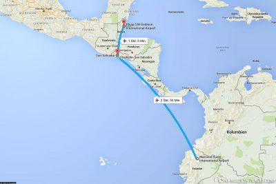 Die Flugroute von Quito über San Salvador nach Belize