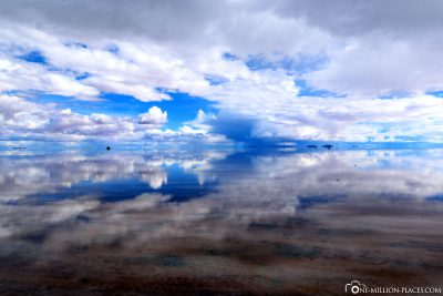 Cloud reflections in the salt lake