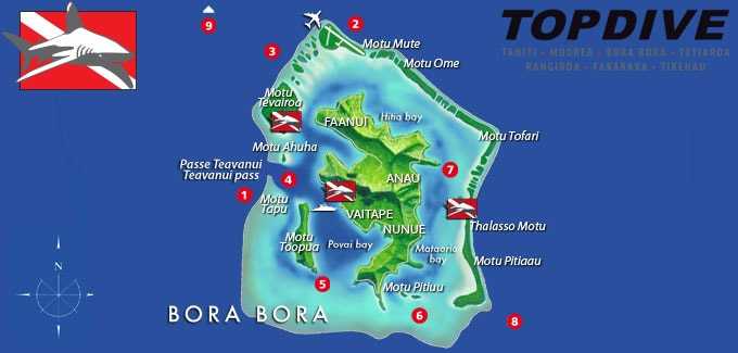 Map, Diving, Topdive Bora Bora, French Polynesia, South Seas, Travel Report
