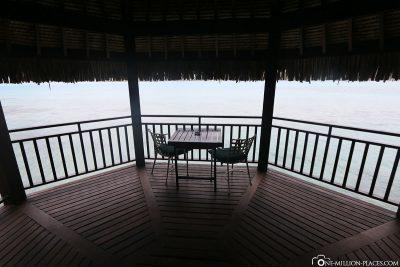 Der Balkon der Island Luxury Lodge