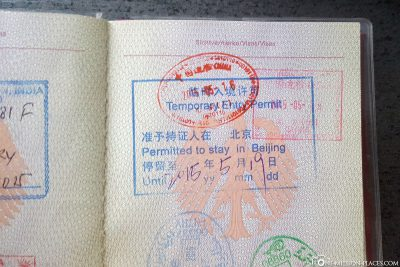 Stempel des 72 Stunden Visums im Reisepass