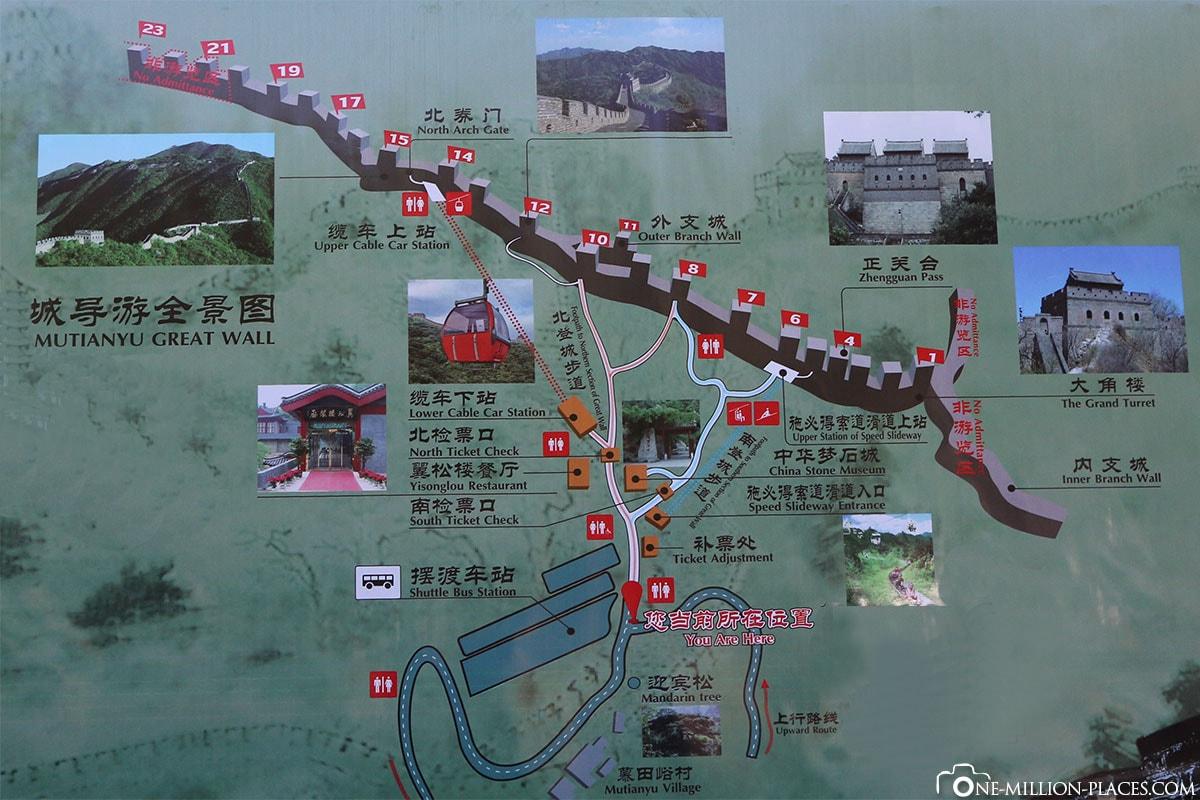 Map, Plan, Mutianyu, Great Wall of China, Beijing, Day Tour, China, UNESCO World Heritage, Wonder of the World, Travelreport