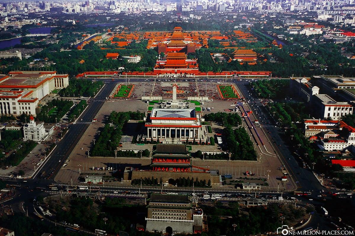 Luftbild, Tiananmen Platz, Peking, China, Sehenswürdigkeiten, Auf eigene Faust, Stadtbesichtigung, Reisebericht
