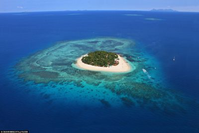 Aerial view of Beachcomber Island